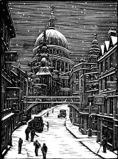 wood-engraving original print: London Snow for Cambridge Book of Poetry for Children